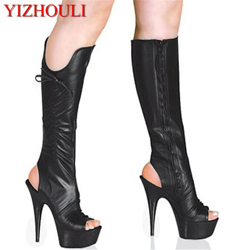 Star Performance Shoes 15cm High Heeled Shoes Medium Leg Butterfly Open Toe Women S  6 Inch Summer Sexy Pole Dancing Boots Boot Ankle Boots From Crystalcle e7748c54ee