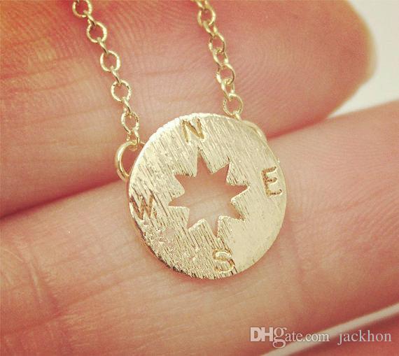 de Prata de Ouro Pequeno Compass Colares Pingente de Charme para As Mulheres Homens Sul Direção Colar Disco Círculo Colares de Disco Jóias Coin
