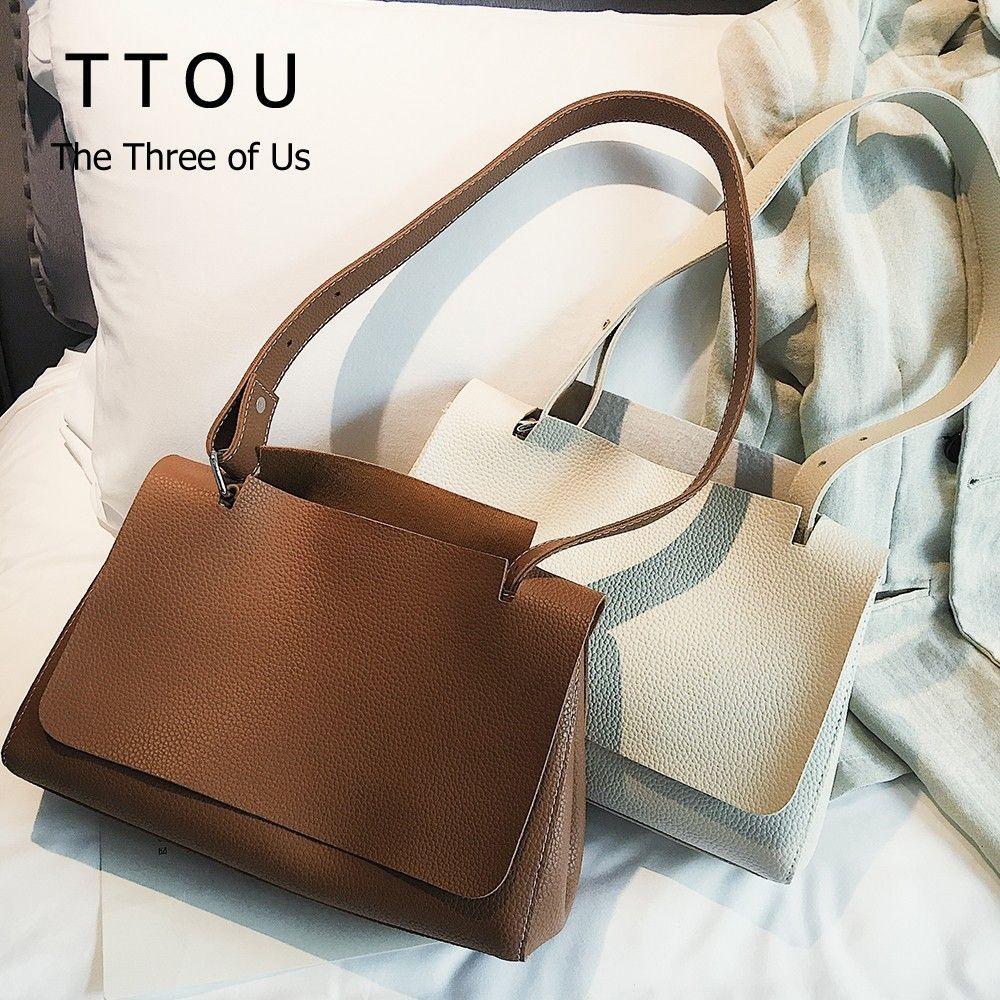 2731c4023b8f TTOU Autumn Winter Women Handbag Soft PU Leather Shoulder Bag Fashion  Ladies Casual Messenger Bag Cheap Designer Handbags Black Handbags From  Keyhess