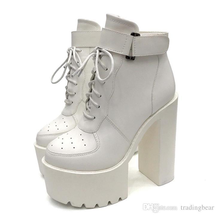 700611066cccb9 Neue Schnalle dicke Ferse Plattform schnüren Designer Stiefel Mode Luxus  Designer Damen Winter Stiefeletten schwarz weiß Größe 35 bis 39
