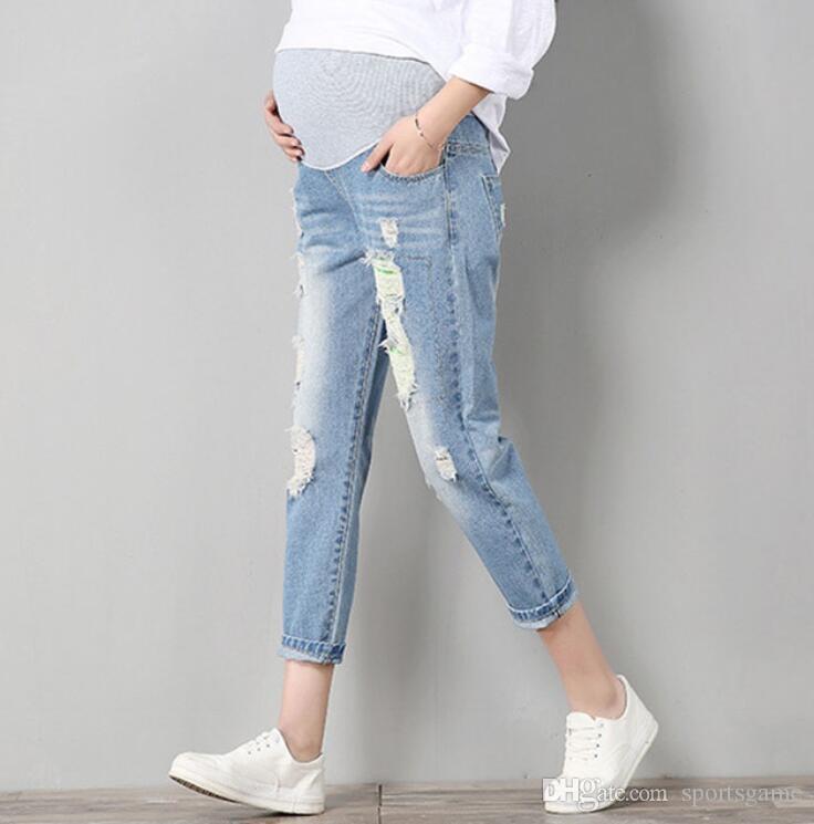 20e1c7bd5 Compre Jeans Pantalones De Maternidad Para Mujeres Embarazadas Pantalones  De Ropa Enfermería Prop Legging Del Vientre Embarazo Ropa Monos Ninth Pants  Nuevo ...