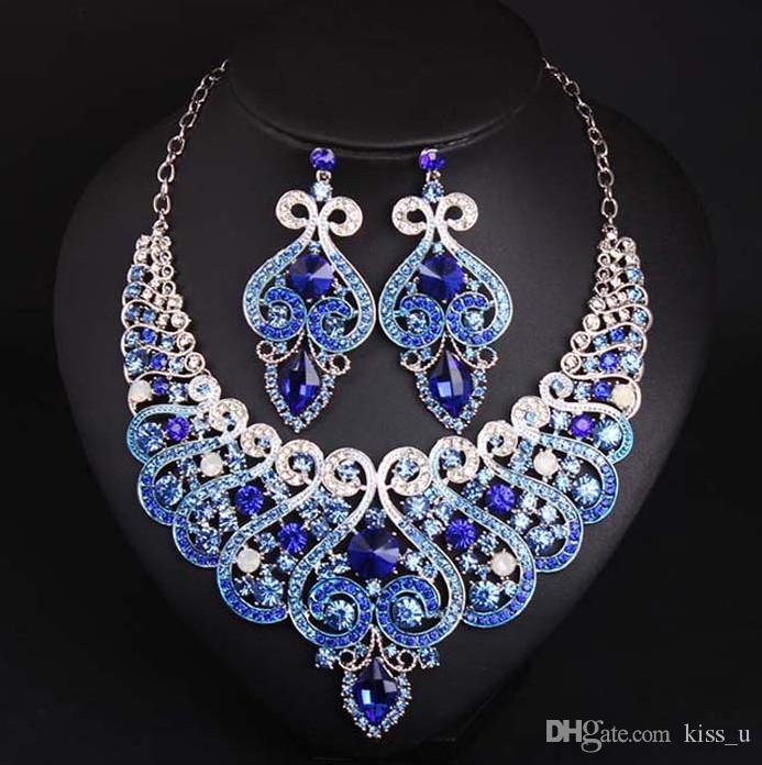 860f1b1aad106 Luxury Full Crystal Jewelry Sets Royal Blue Women African Costume Jewelry  Colorful Rhinestone Necklace Earrings Set