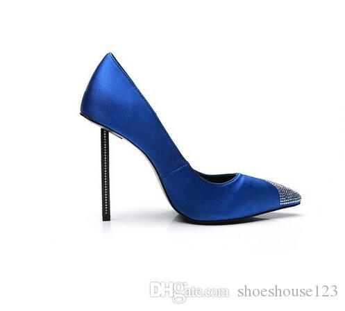 Royal Blue Stiletto Heels Women Pumps Sexy Pointed Toe Women Shoes Studded Crystal  High Heels Bridal Wedding Shoes Gold Wedges Red Wedges From Shoeshouse123  ... 0f440d2719bc