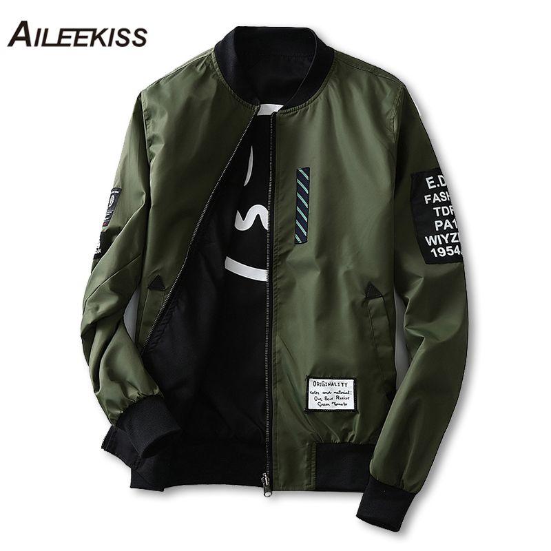 5f66611ce52 2018 Man Pilot Bomber Jacket With Patches Green Both Side Wear Men Pilot  Jackets Thin Male Wind Breaker Jacket Mans Coat XT441 S1015 Style Jackets  Bomber ...