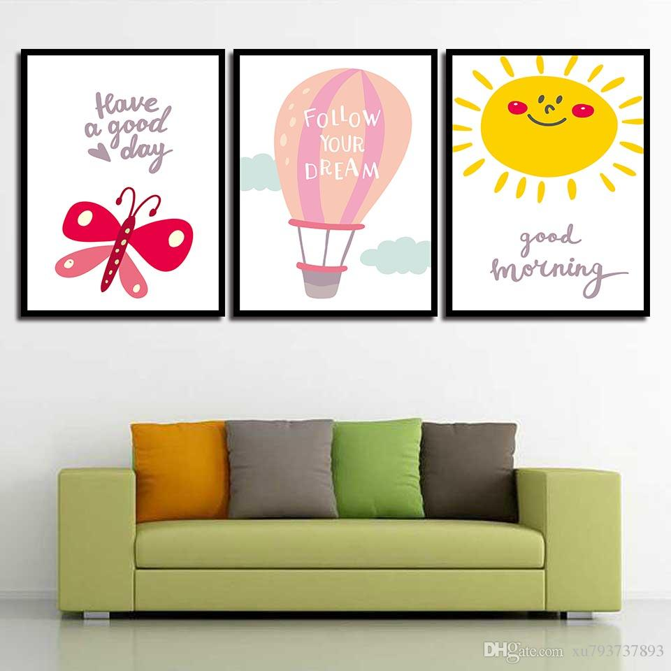 Perfect 2019 HD Prints Pictures For Kids Room Home Decoration Cute Cartoon Sun And  Butterfly Modern Canvas Paintings Wall Art Nordic Poster From Xu793737893,  ...