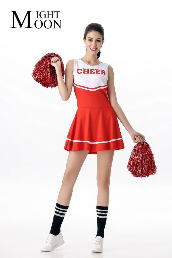 e7e7ff76a Compre MOONIGHT High School Girl Uniforme Glee Cheerleader Vestido Fancy  Costume Cheerleader Outfit es Sexy A  33.72 Del Junqingy