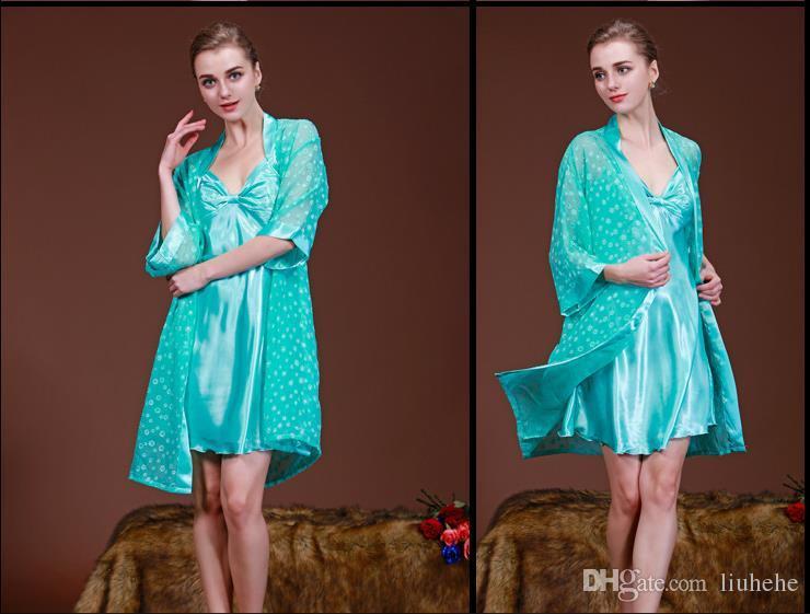 İlkbahar ve yaz aylarında ipek pijama ince ipek Ev Mobilya mavi ve beyaz porselen iki parçalı takım elbise giymek