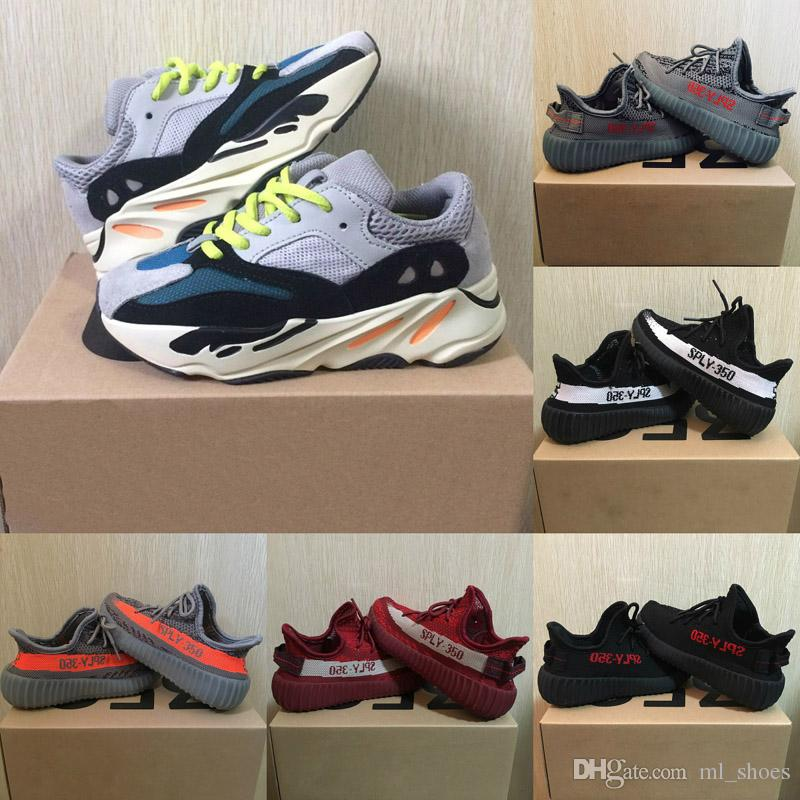 2018 Kids Shoes Wave Runner 700 Kanye West SPLY 350 V2 Running Shoes Children Athletic Shoes Beluga 2.0 Sneakers Black Red White