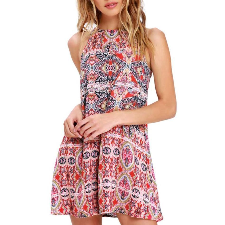 48a88517d Good Quality V Neck Floral Print Mini Dress Womens Summer Boho Mini Dress  Ladies Halter Casual Beach Party Shirt Dress Online with $35.14/Piece on ...
