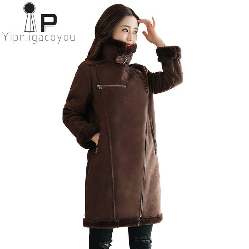 baf1f31258465 2019 Women Faux Suede Fur Coat Winter Long Jacket Warm Lamb Wool Coat  Fashion Female Faux Fur Coats Plus Size Elegant Ladies Overcoat From  Qingxin13
