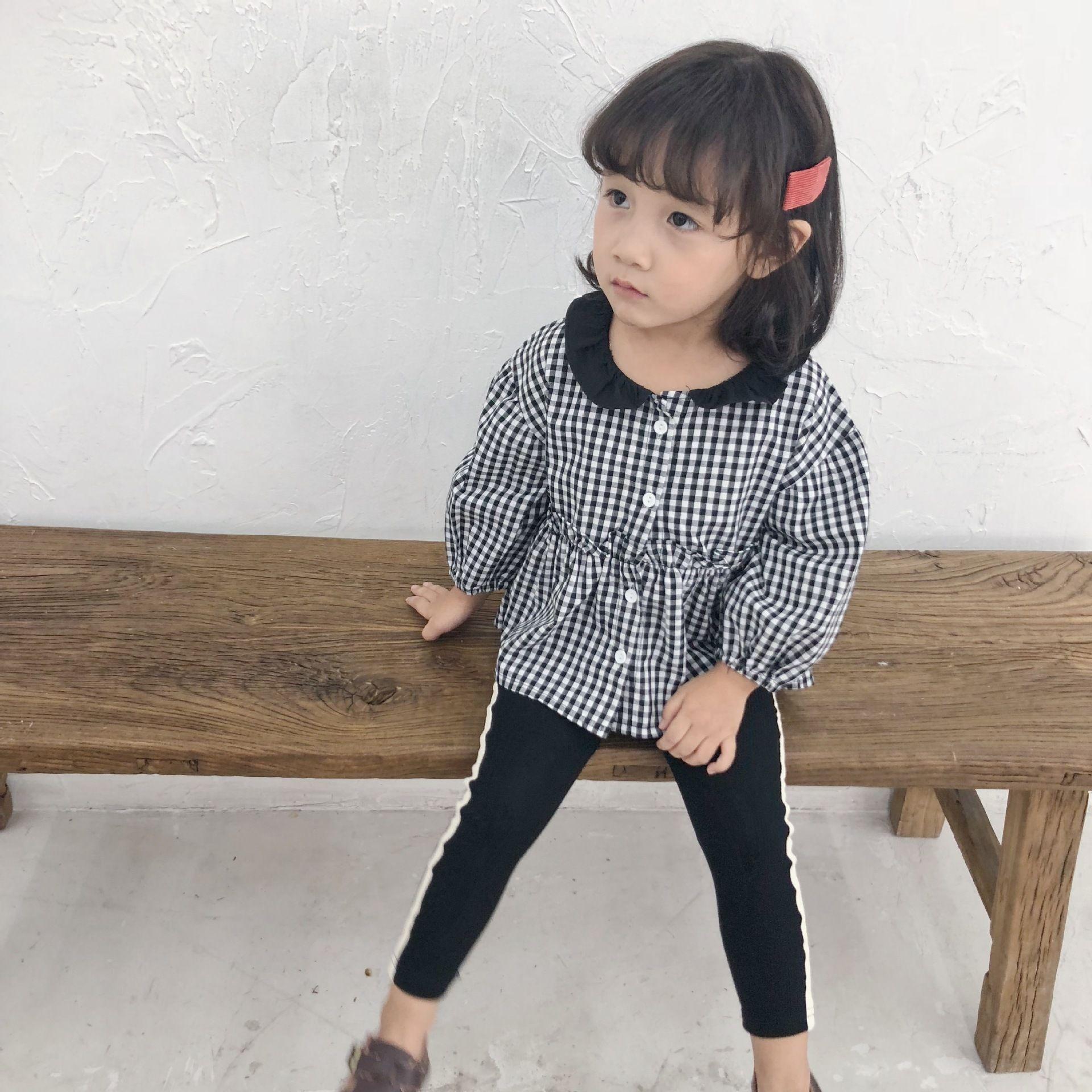 new products a01ef 6d2ba 2018 Camicia a scacchi bianca e nera New Children Camicia a maniche lunghe  da ragazza