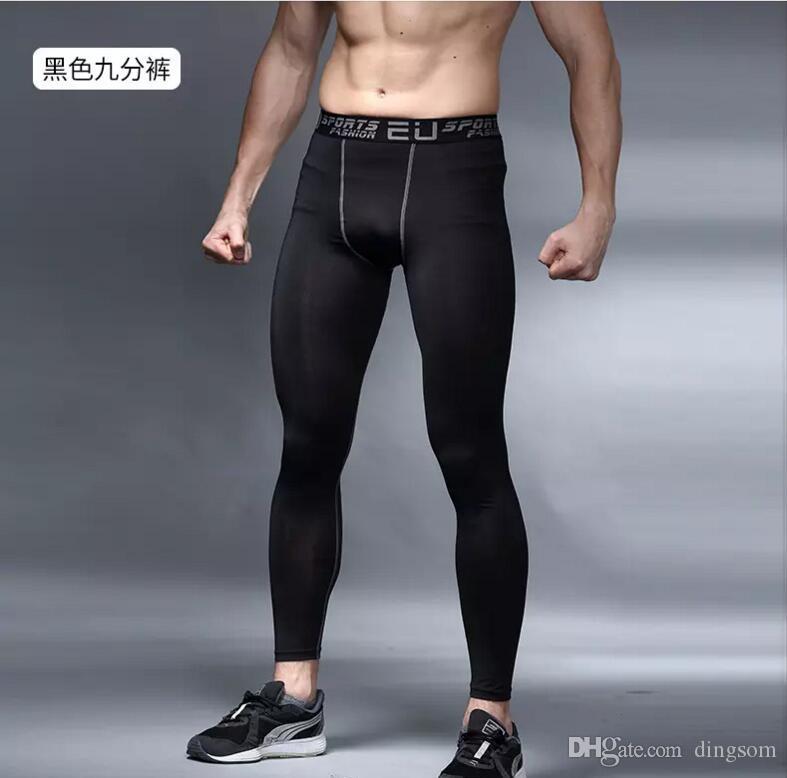 Sportwear Mens sıkıştırma pantolon spor koşu tayt basketbol spor salonu pantolon vücut geliştirme joggers koşu skinny tayt pantolon