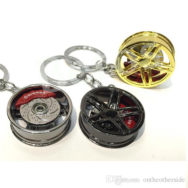 Car wheel keychain key ring Alloy with Brake discs Auto Part Model Car Keyring turbo keychain