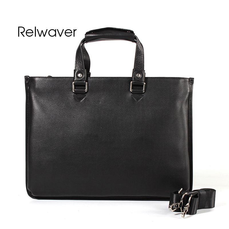 Relwaver Men Genuine Leather Handbag Black Big Briefcase Brief Natural Head Layer  Cow Leather Gentlemen Business Men Bag Ladies Purses Handbag Wholesale ... fd5ede6a2f08c