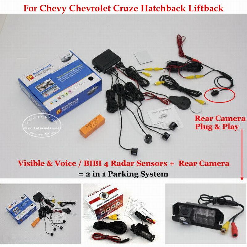 liislee for chevy cruze hatchback - car parking sensors + rear view camera  = 2 in 1 visual / bibi alarm parking system