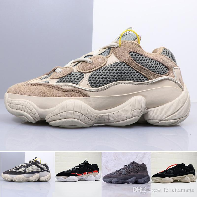promo code 1c955 a91b0 2018 New Designer Casual Shoes Kanye West 500 Wave Runner Mens Women  Desginer Shoes off Original Black Grey Running Shoes Sports Sneakers
