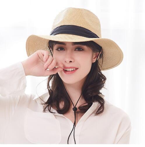 Summer Hat for Women Straw Hats Sun Hat Cap Wide Brim Fedora Sun ... d5f9259c5235