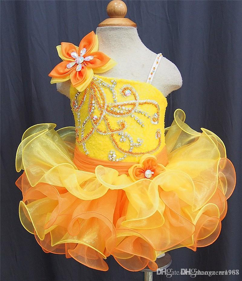 2019 Yellow Orange Flower Girl Cupcake Beaded Girls Pageant Dresses Infant Toddler Dresses Sashes Hand Made Flowers