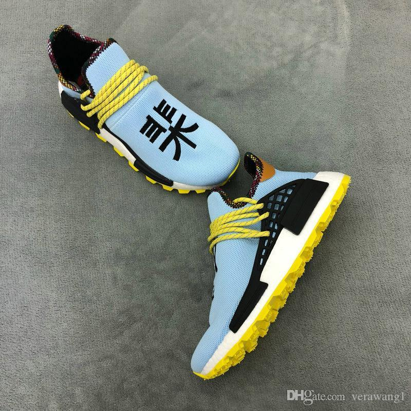 c76ec7b18 Authentic Pharrell Williams NMD Hu Inspiration Pack Running Shoes Clear Sky  Black Orange Top Quality Sports Sneakers OG With Box EE7579 Canada 2019 From  ...