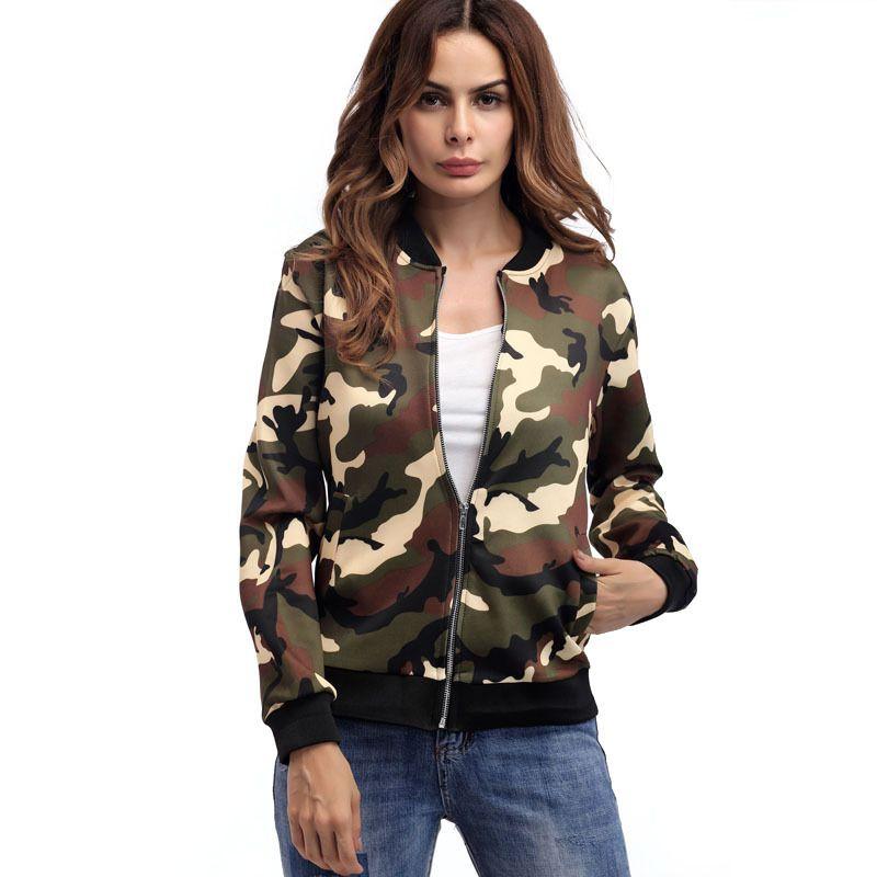 Women Autumn Jacket Camouflage Military Coat Army Green Winter Bomber  Jackets Outwear Female Zipper Tops Jaqueta Casaco 2018 Bomber Jackets Rain  Jackets ... 0a92331ee
