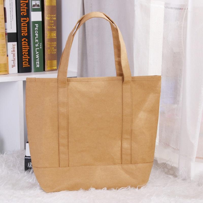 Women Kraft Paper Handbag Fashion Classic Reusable Shopping Bag Eco Friendly  Shopper Sac Kraft Washable Tote Shoulder Bag Grocery Bags Personalized Bags  ... b28c6a7b9a46e
