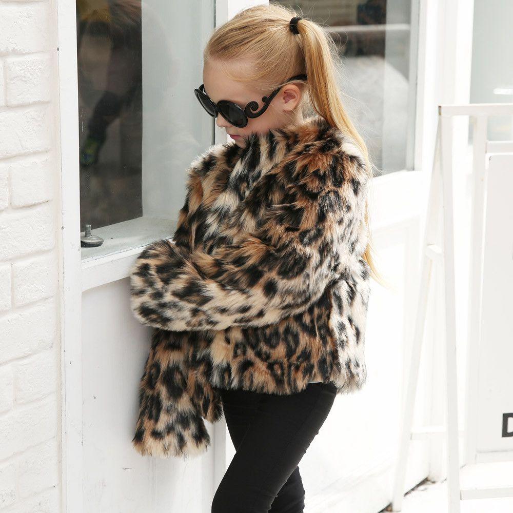 6d1e65071 Faux Fur Coat Kids Baby Girls Leopard Autumn Winter Jacket Thick Warm  Outwear Clothes BFOF Boy Coat Best Kids Winter Coats From Childrenparadise,  ...