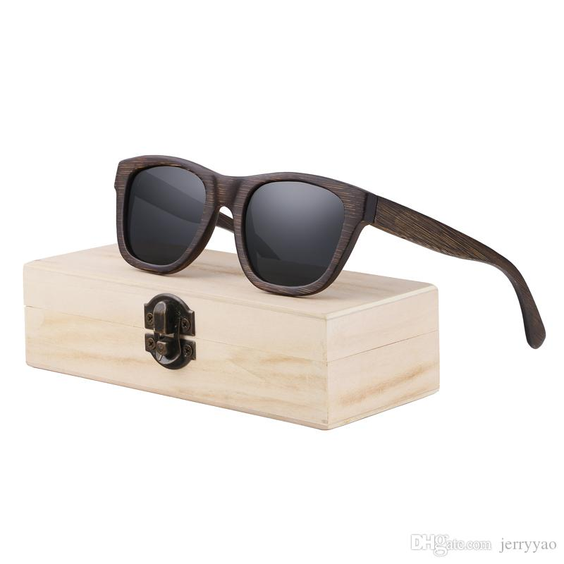 ed1e6bf3e Compre Óculos De Sol De Madeira Mulheres Espelho Goggle Quadrado Bambu  Óculos De Sol De Bambu Do Vintage Polarizada Óculos De Sol De Bambu Para O  Homem Para ...