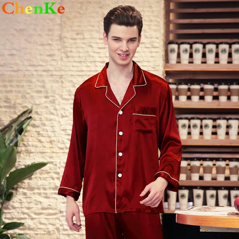 b4345f4d63 2019 ChenKe 2018 Chinese Satin Silk Pajamas Sets Long Sleeve Men Turn Down  Collar Pajamas Male With Pockets Button Sleepwear Sets From Bunnier
