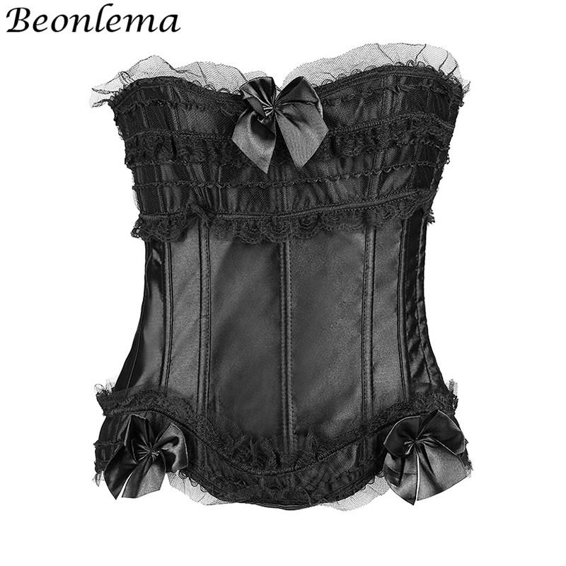 a2ec63295e7 BEONLEMA Sexy Tops Ruffles Lace Corset For Women 14 Plastic Bones Half Cup Push  Up Bustier Bow Tight Up Ribbon Ropa Interior Bustiers   Corsets Cheap ...