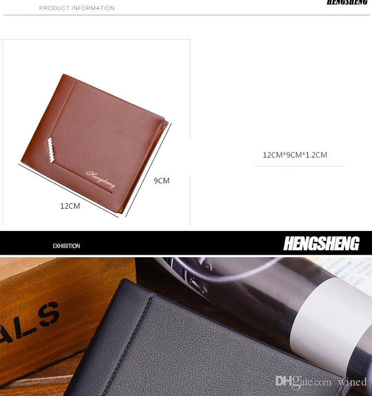 Hot sale brand genuine mans wallets fashion leisure square cross section Bifold Purse wallet for men factory price 2018051422