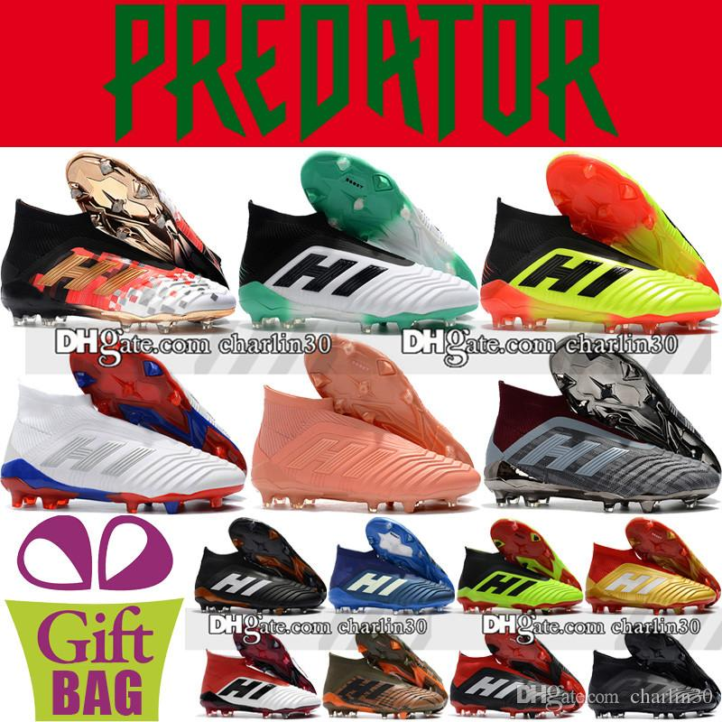 e69e121c6 2018 Mens High Ankle Football Boots Predator 18+ FG Soccer Cleats Socks  Core Black White Red Outdoor Laceless Predator Soccer Shoes Black Boots For  Women ...