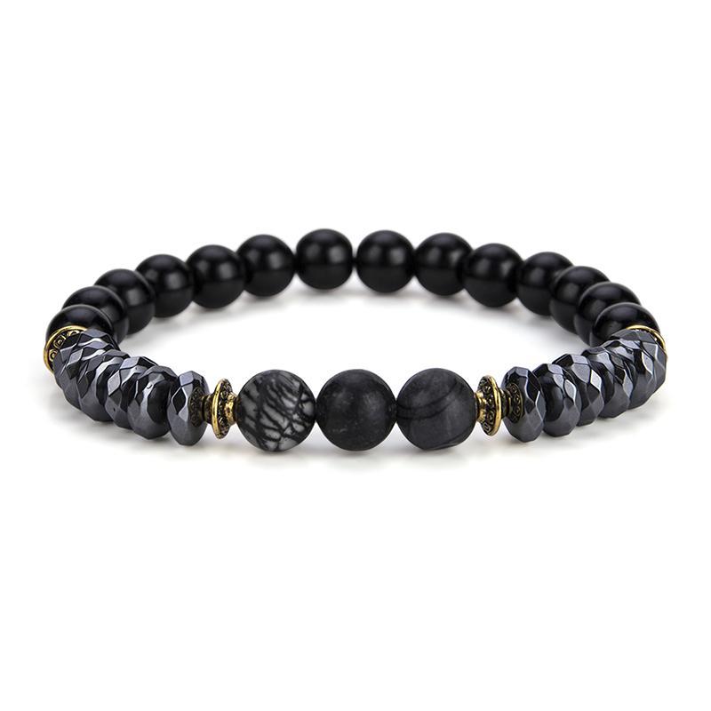 Nouvelle Arrivée Pierre Naturelle Perle Bracelet Vintage Or Couleur Hommes Accessoires Bouddha Braclet Pour Mâle Main Yoga Bijoux Pulsera