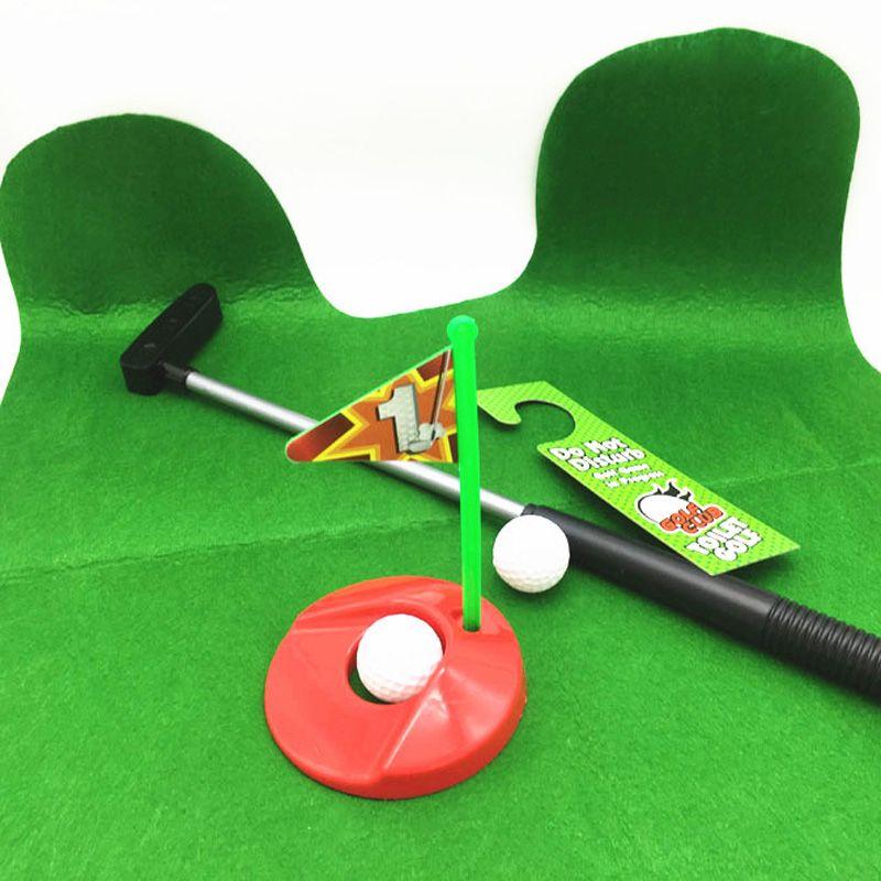 Jeux de sports de plein air Drôle Potty Putter Toilette Golf Jeu Toilette Temps Mini Golf Ensemble Vert Nouveauté Cadeau Jouet Tapis