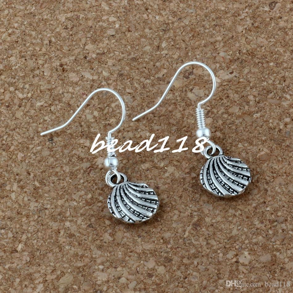 Sea Shell Earrings Silver Fish Ear Hook Antique Silver Chandelier Jewelry