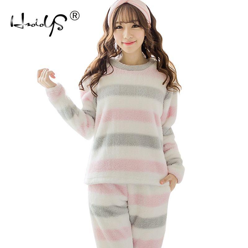 2b92312b0f6c Großhandel Neue Winter Mädchen Pyjama Sets Frauen Flanell Striped Dicke  Warme Weihnachten Homewear Weichen Samt Anzug Flanell Damen Nette  Nachtwäsche ...
