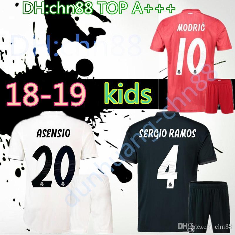 los angeles 4b6c6 5c511 kids 2018 real madrid jerseys ronaldo home away 18 19 real madrid bale isco  asensio MARCELO kroos BENZEMA camiseta de fútbol football shirts