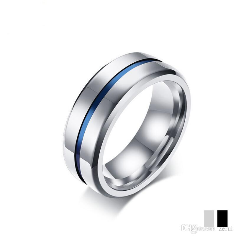 8mm Black Titanium Ring For Men Women Wedding Bands Trendy Rainbow