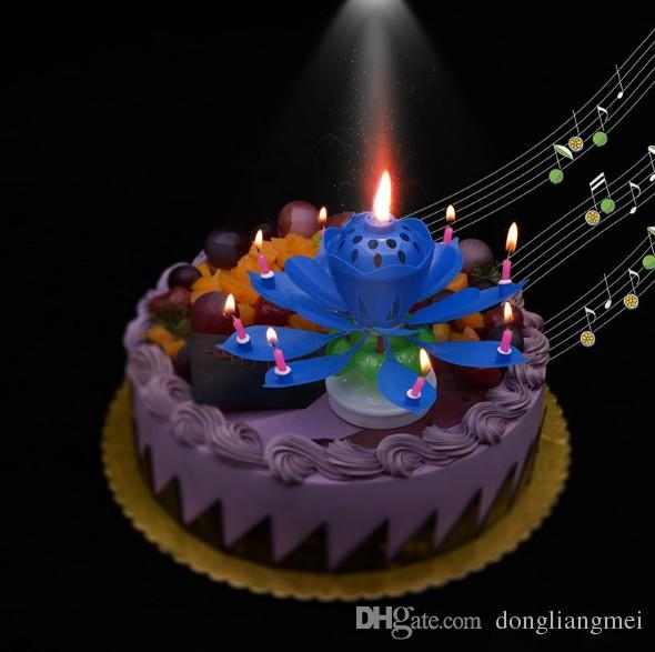 2019 2 Layer Petals Music Candle Children Birthday Party Lotus Sparkling Flower Candles Squirt Blossom Flame Cake Accessory Gift Wn371 From Dongliangmei
