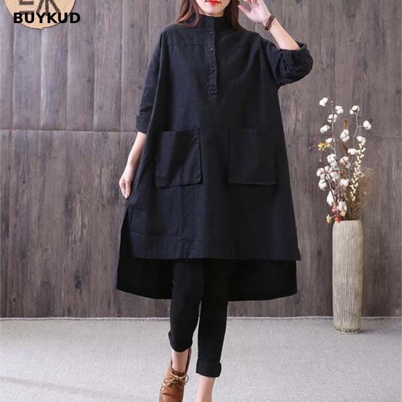 c5f40c2e6d4 2019 BUYKUD Loose Cotton Linen Long Women Blouse Top 2018 Autumn Casual  Irregular Hem Stand Collar Long Sleeve Black Shirt Blouses From Feiyancao