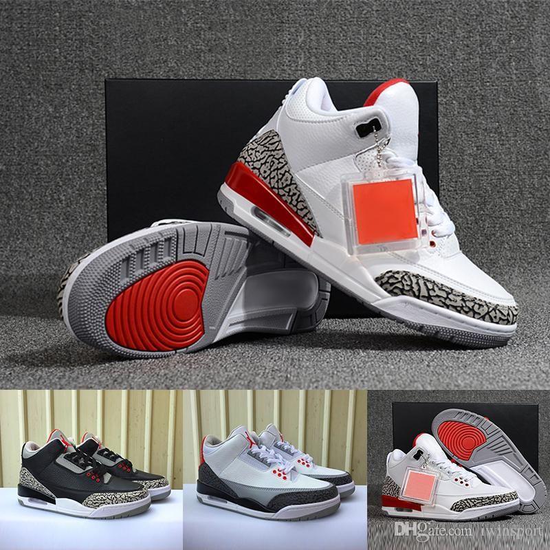 get cheap 14e89 fe7f6 Großhandel Nike Air Jordan 4 Neue 3 Katrina Basketballschuhe Für Männer  Authentische Turnschuhe 3S Weiß Zement Grau Schwarz Und Feuer Rote Farbe 3  NRG Hohe ...