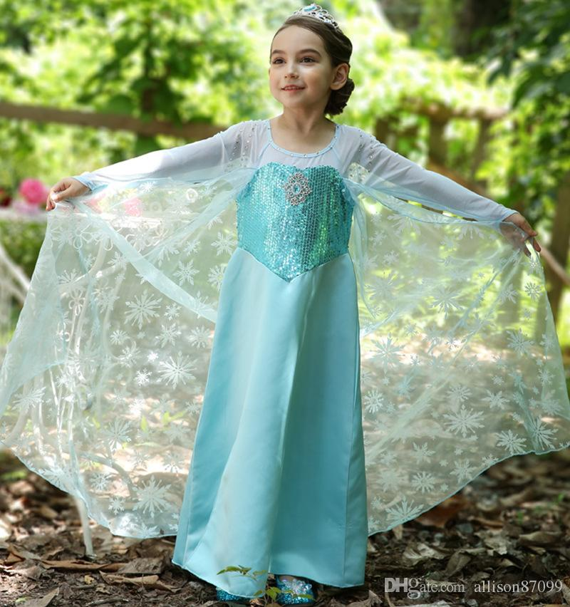 d736a8683c7 2019 2018 Luxury Christmas Kids Dress Princess Dresses Bling Bling Snow  Tail Cape Costume Stage Dresses Blue Long Sleeve Free DHL From  Allison87099