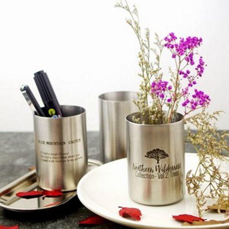 Nordic Dekorative Vase Buro Aufbewahrungsbox Flaschen Kuche Metall Edelstahl Vase Stifthalter Desktop Finishing Boxen