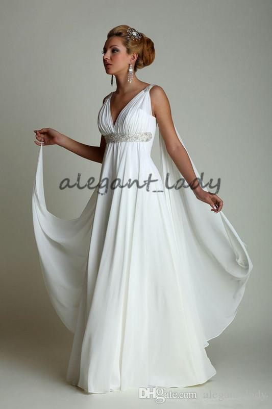 Greek goddess Wedding Dresses with Watteau Train 2018 High Waist Long Chiffon Grecian Beach Maternity Wedding Gowns for Pregnant Women