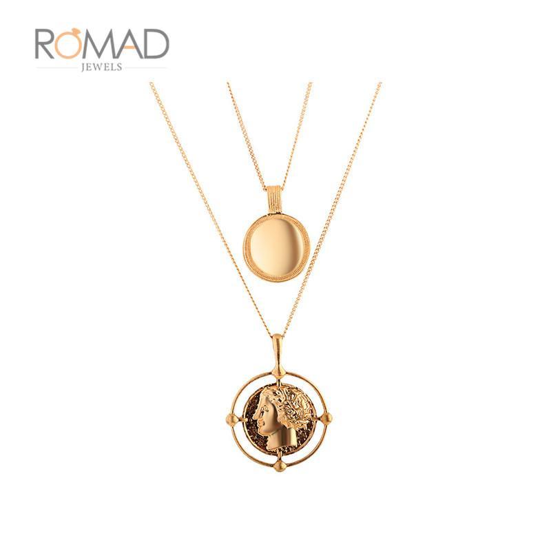 Großhandel Vintage Geschnitzte Münze Halskette Für Frauen Gold Farbe