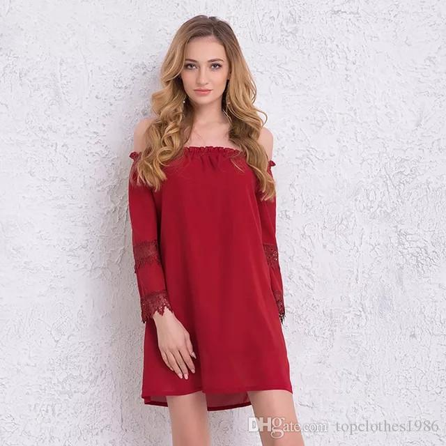 148d40028603 2019 2018Autumn New Women S Off Shoulder Loose Sexy Chiffon Dress 3 4Sleeve  Lace Street Style Dress Fashion Shirt Dress Red S M L XL From  Topclothes1986
