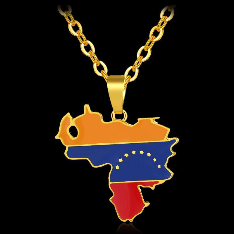 585c267328 Compre Moda África Venezuela Mapa Bandera Colgante Y Collares Para Unisex  Color Oro Mapa De Venezuela Joyería Bijoux Femme A  16.78 Del Zhaoyan830