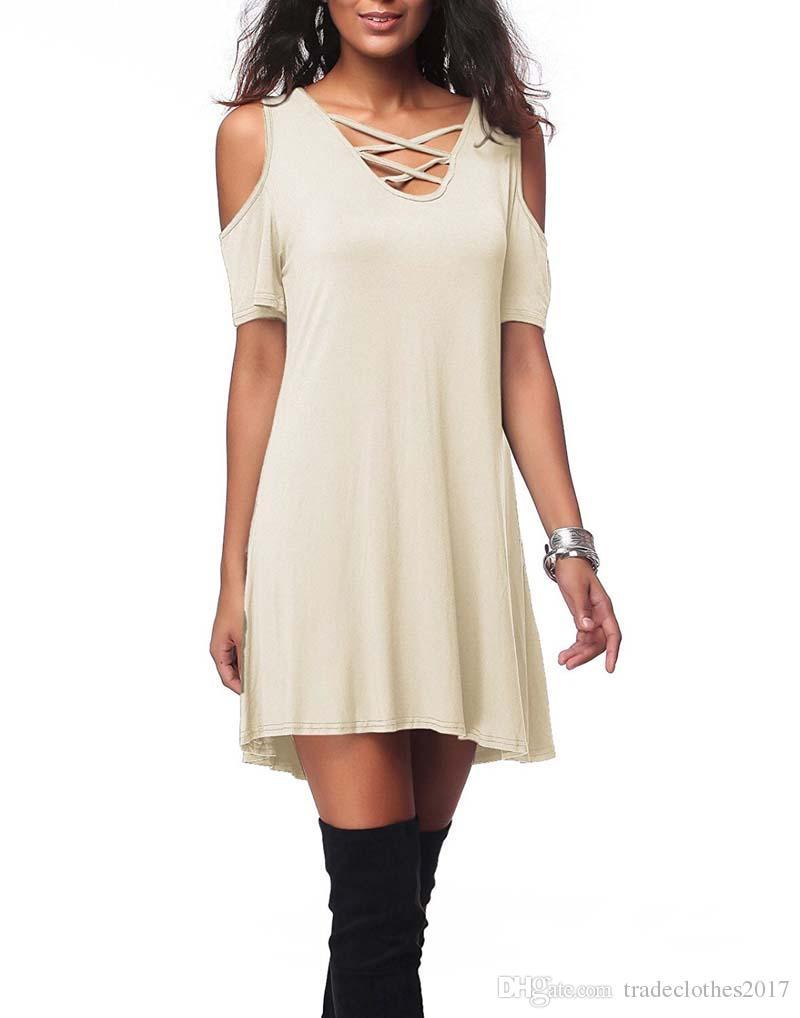 2018 Женщины V воротник с открытыми плечами с коротким рукавом твердые мател шелковой ткани свободные платья Лето