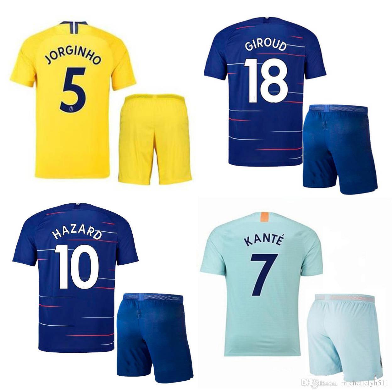 29774e24232 18 19 HAZARD Soccer Jersey Shorts MAROTA FABREGAS KANTE GIROUD ...