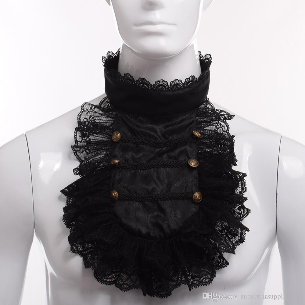 Vintage Hand Made Steampunk Victorian Royal Men Ruffle Black Lace Detachable Collar Jabot Cosplay Costume Accessory