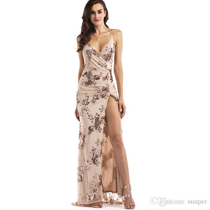 2019 Vintage Celebrity Sexy Luxury Gold Sequins Maxi Dress Summer 2018  Summer Elegant V Neck Split Club Sleeveless Long Party Dresses Vestidos  From Suuper cae115dd0640